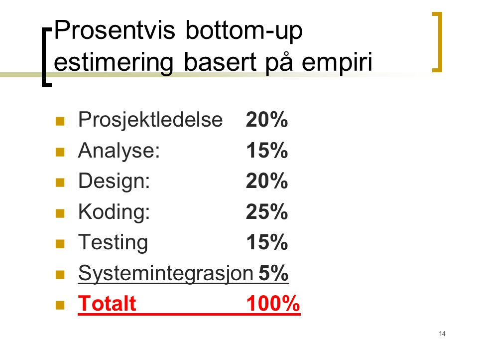Prosentvis bottom-up estimering basert på empiri