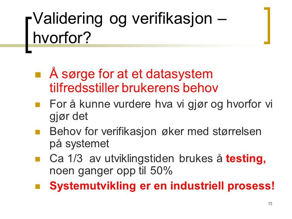 Validering og verifikasjon – hvorfor