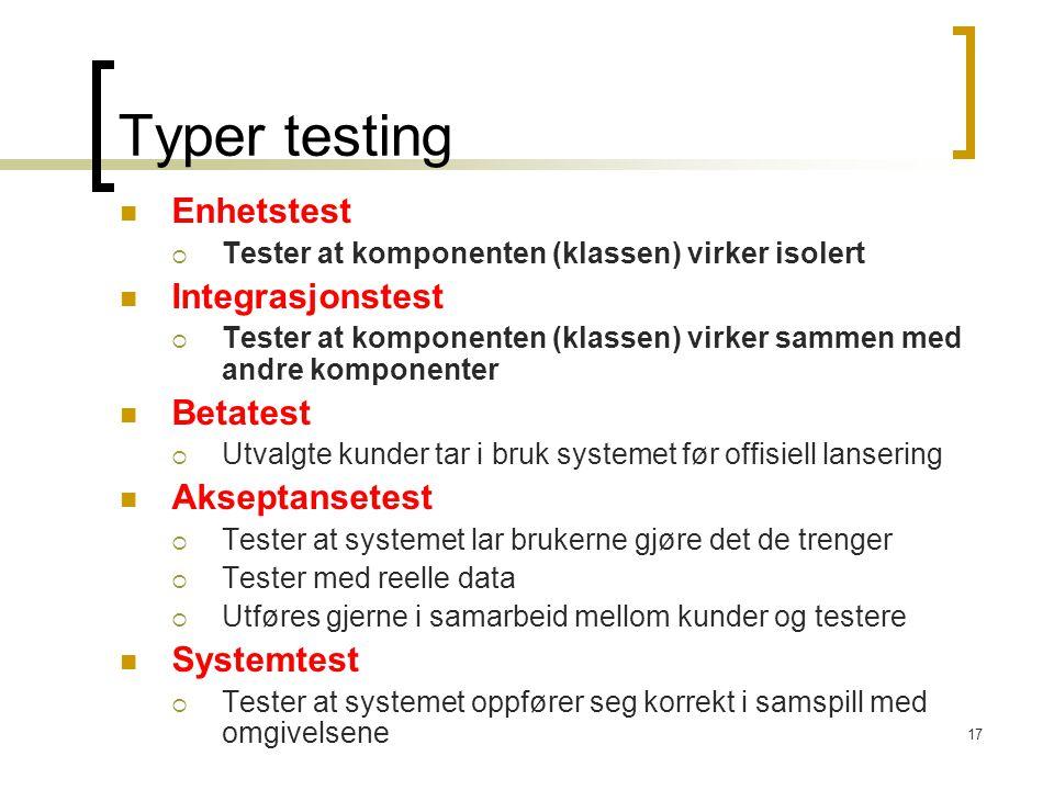 Typer testing Enhetstest Integrasjonstest Betatest Akseptansetest
