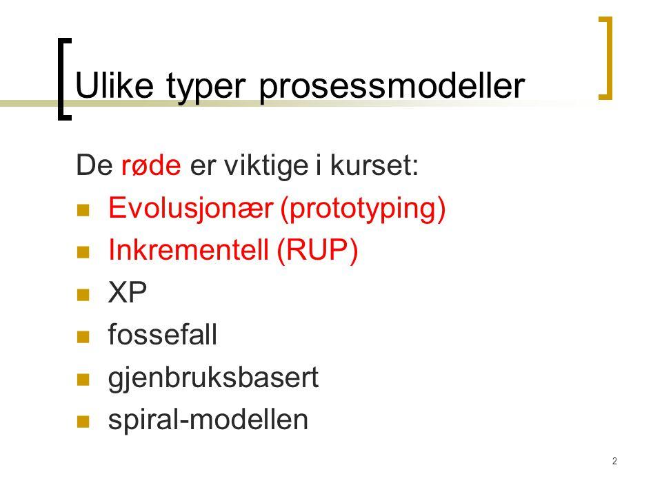 Ulike typer prosessmodeller