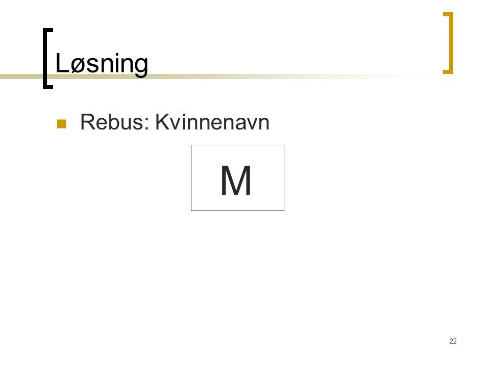 Løsning Rebus: Kvinnenavn M