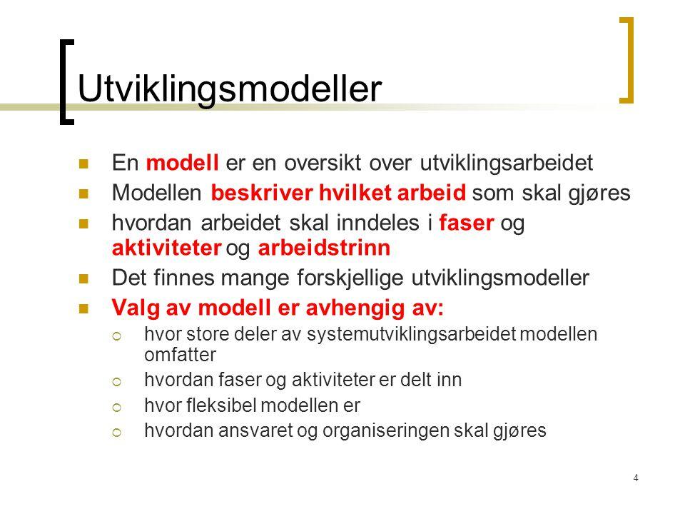 Utviklingsmodeller En modell er en oversikt over utviklingsarbeidet