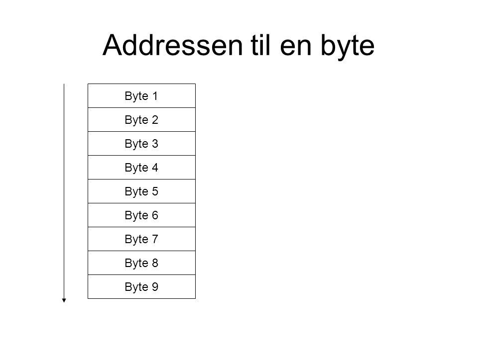 Addressen til en byte Byte 1 Byte 2 Byte 3 Byte 4 Byte 5 Byte 6 Byte 7