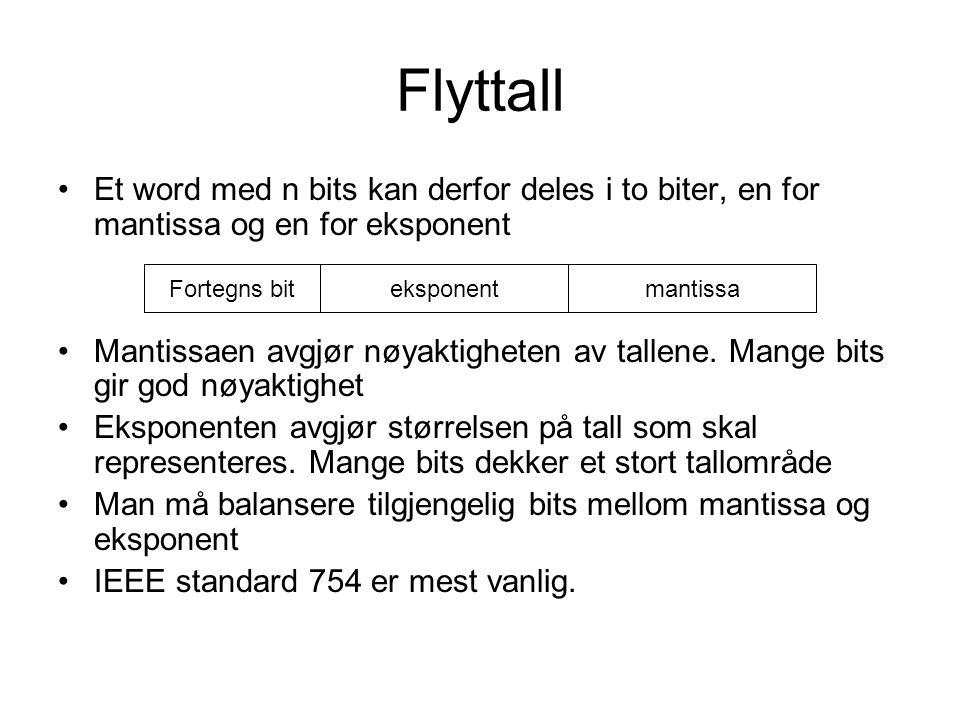 Flyttall Et word med n bits kan derfor deles i to biter, en for mantissa og en for eksponent.