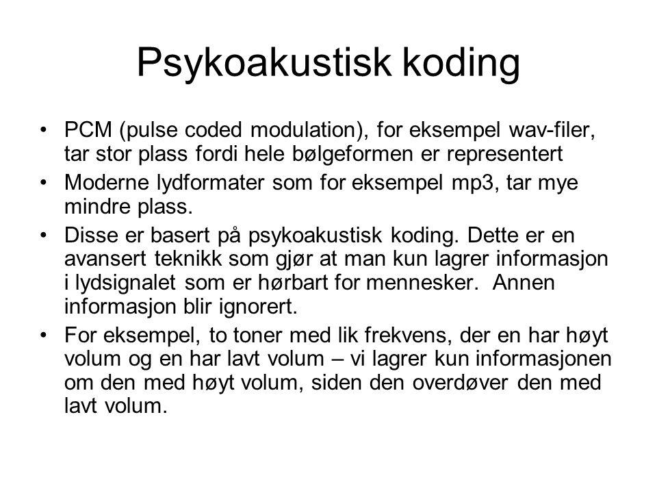 Psykoakustisk koding PCM (pulse coded modulation), for eksempel wav-filer, tar stor plass fordi hele bølgeformen er representert.