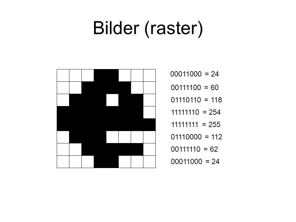 Bilder (raster) 00011000 = 24. 00111100 = 60. 01110110 = 118. 11111110 = 254. 11111111 = 255. 01110000 = 112.