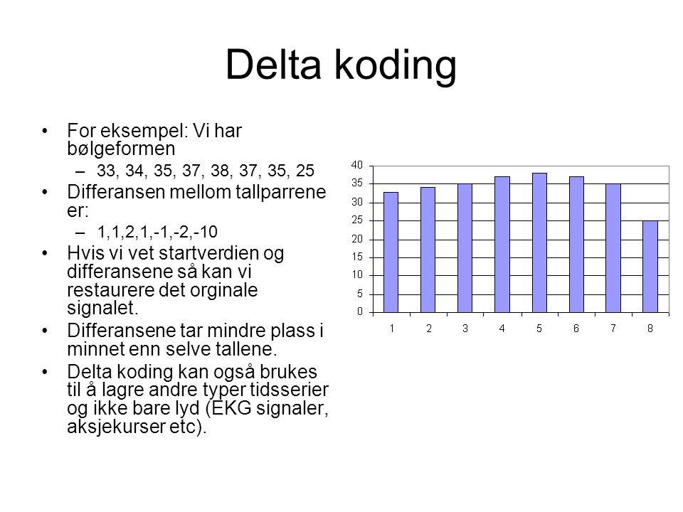 Delta koding For eksempel: Vi har bølgeformen