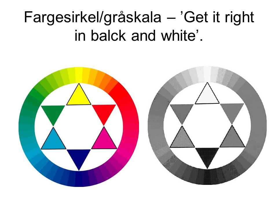 Fargesirkel/gråskala – 'Get it right in balck and white'.