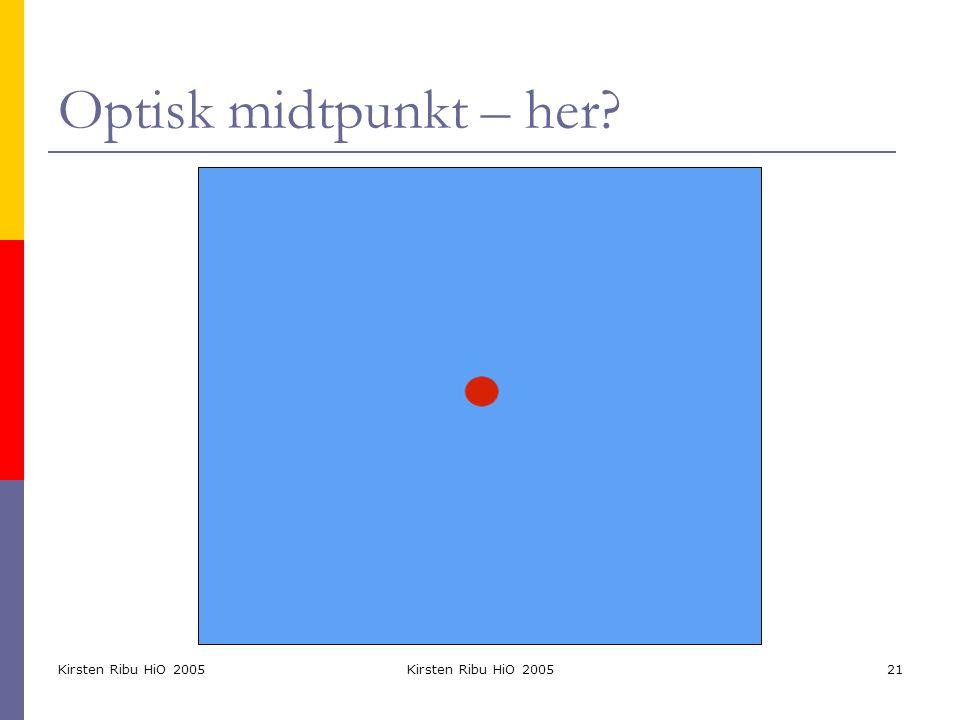 Optisk midtpunkt – her Kirsten Ribu HiO 2005 Kirsten Ribu HiO 2005