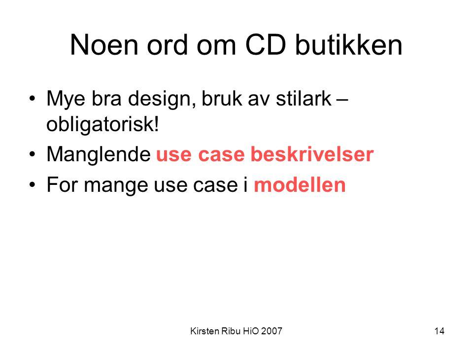 Noen ord om CD butikken Mye bra design, bruk av stilark – obligatorisk! Manglende use case beskrivelser.