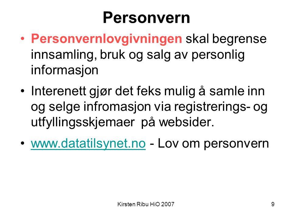 Personvern Personvernlovgivningen skal begrense innsamling, bruk og salg av personlig informasjon.