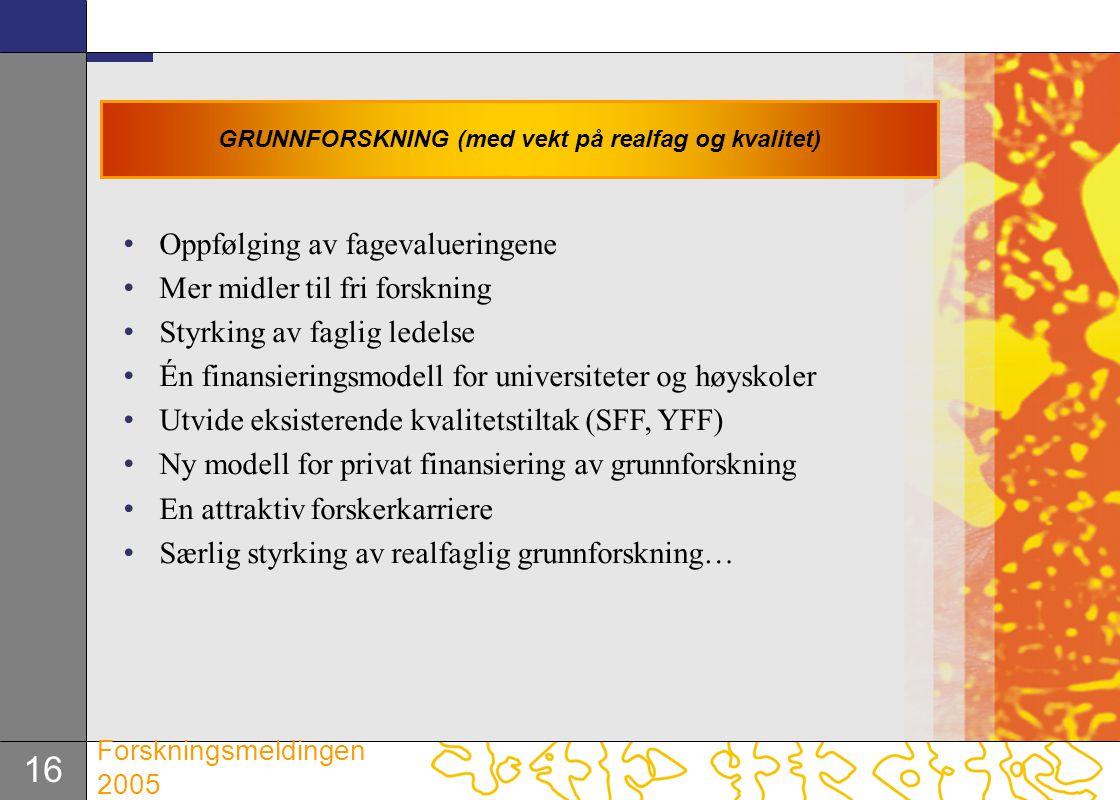 GRUNNFORSKNING (med vekt på realfag og kvalitet)