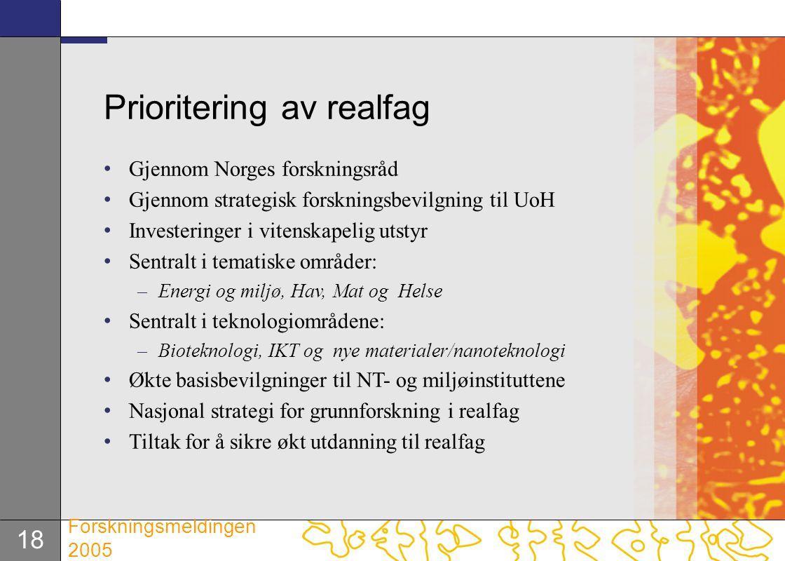 Prioritering av realfag
