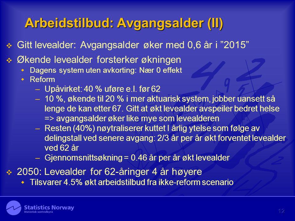 Arbeidstilbud: Avgangsalder (II)