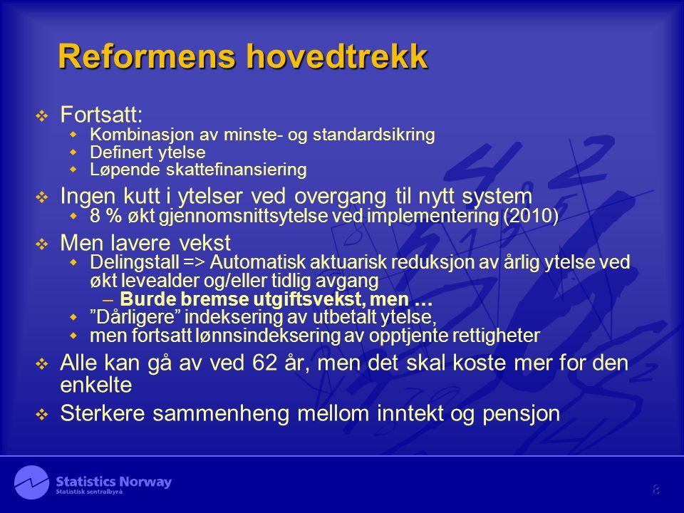 Reformens hovedtrekk Fortsatt: