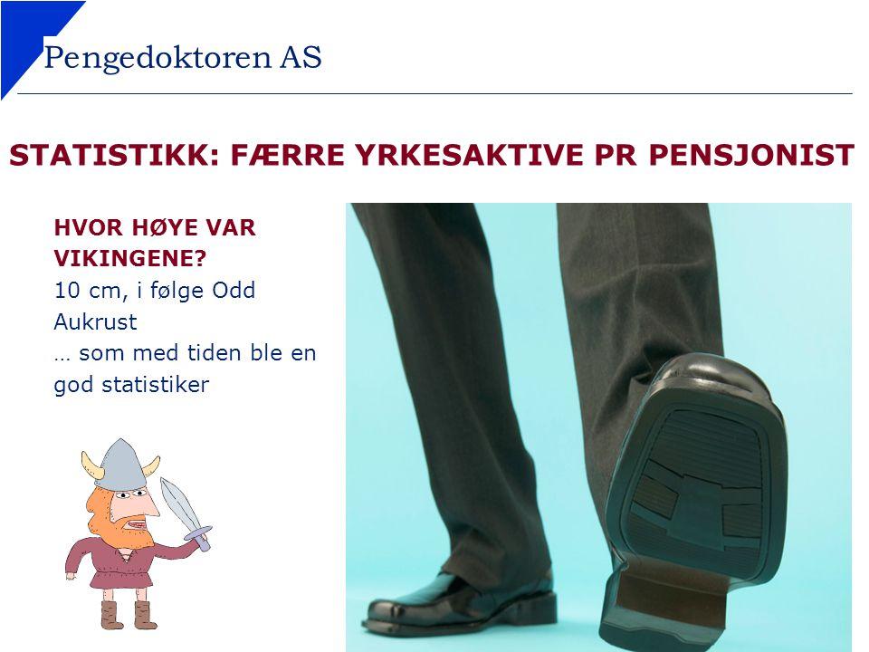 STATISTIKK: FÆRRE YRKESAKTIVE PR PENSJONIST