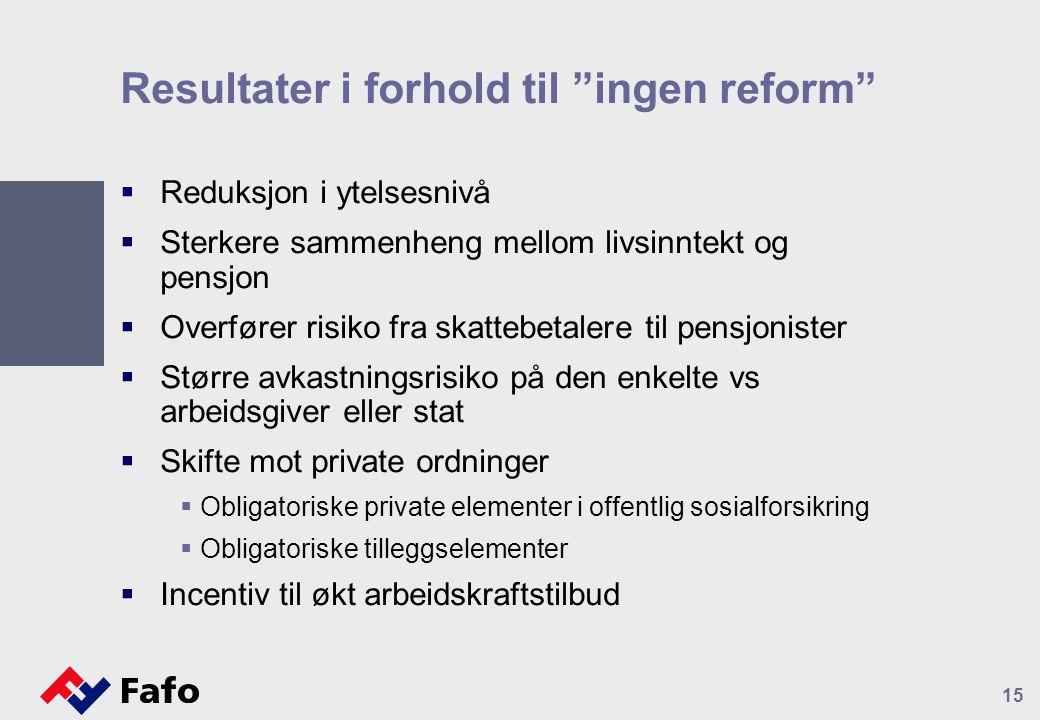 Resultater i forhold til ingen reform