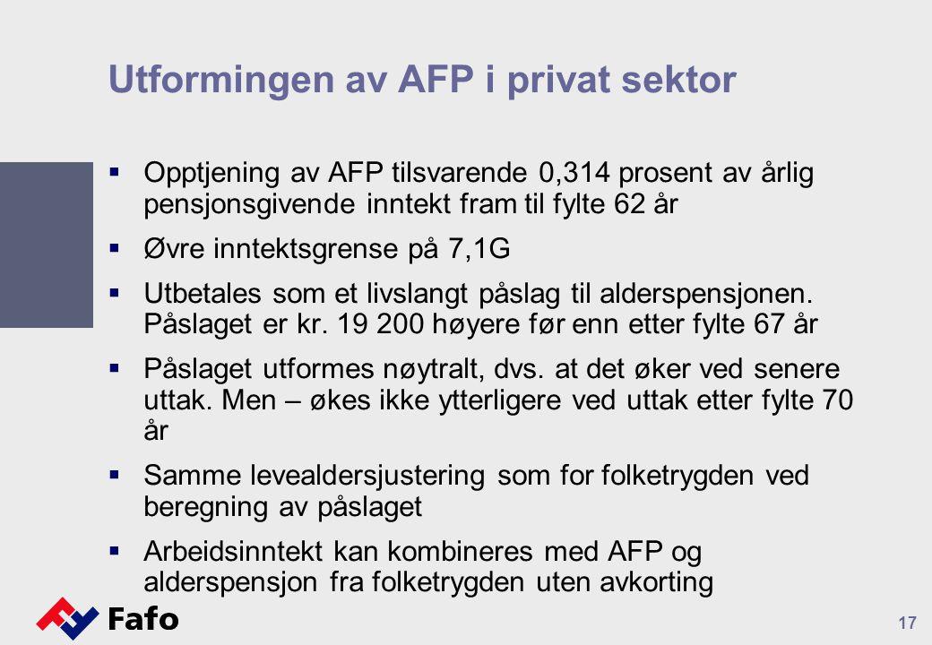 Utformingen av AFP i privat sektor