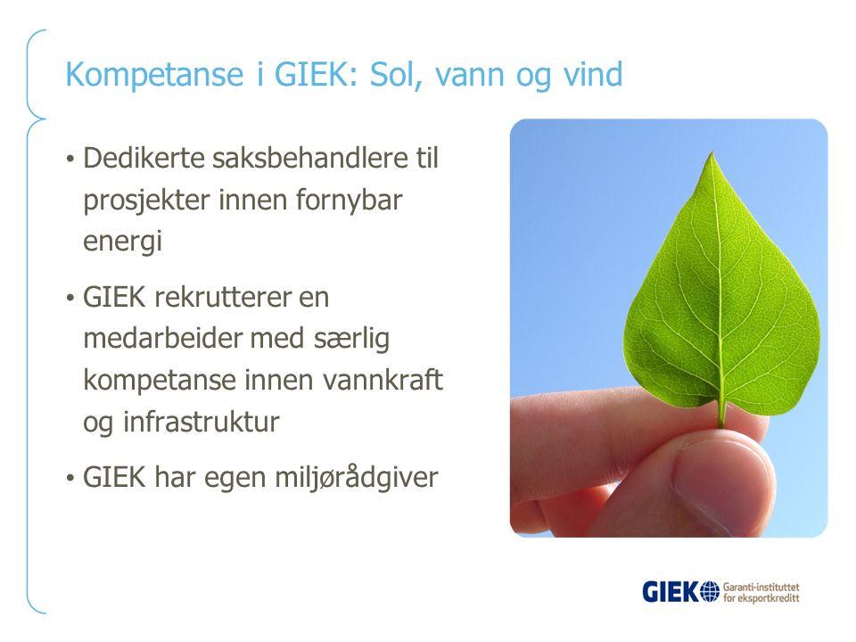 Kompetanse i GIEK: Sol, vann og vind