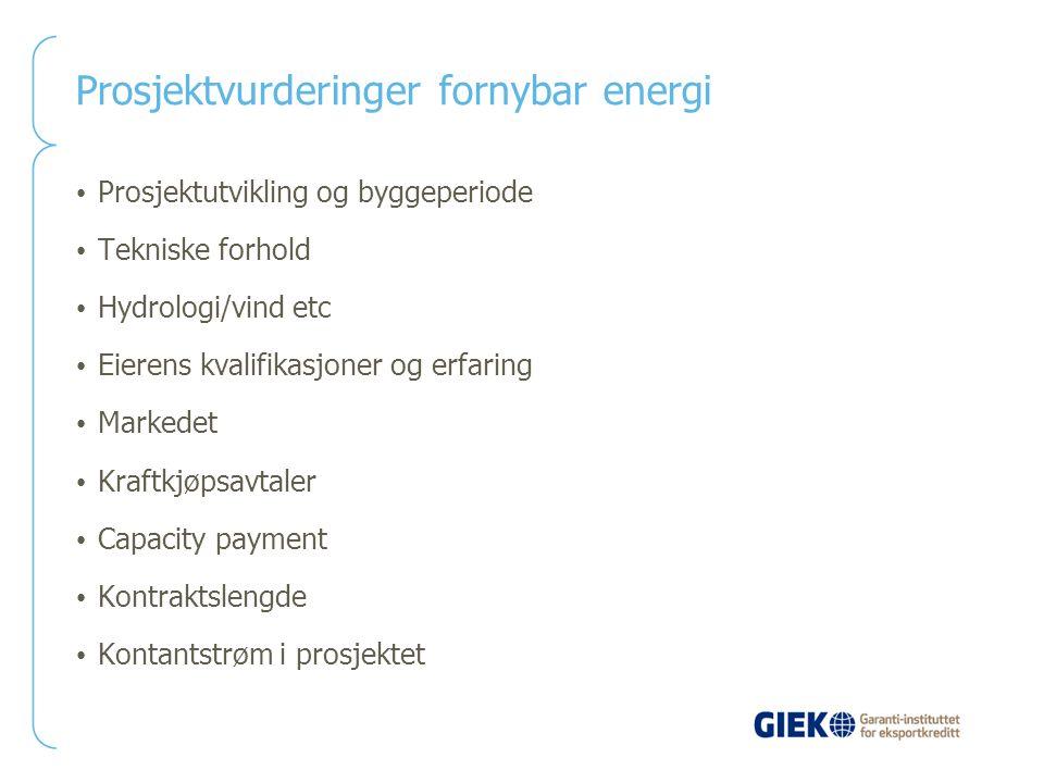 Prosjektvurderinger fornybar energi