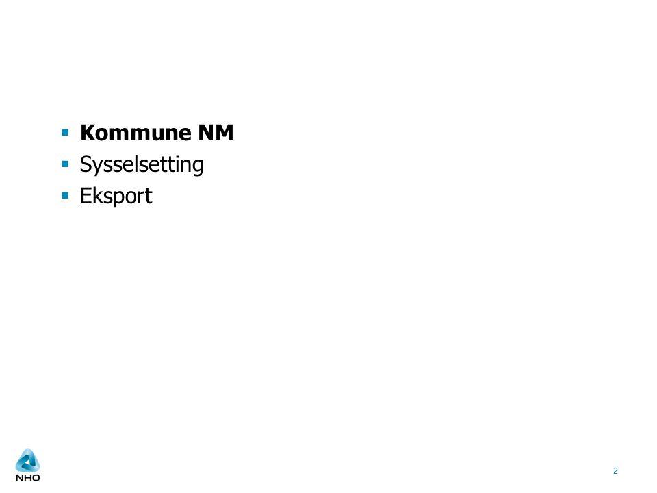 Kommune NM Sysselsetting Eksport