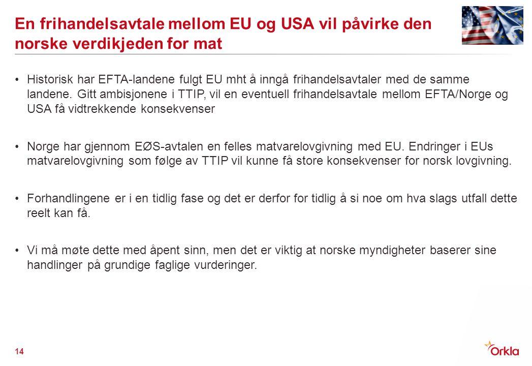 En frihandelsavtale mellom EU og USA vil påvirke den norske verdikjeden for mat