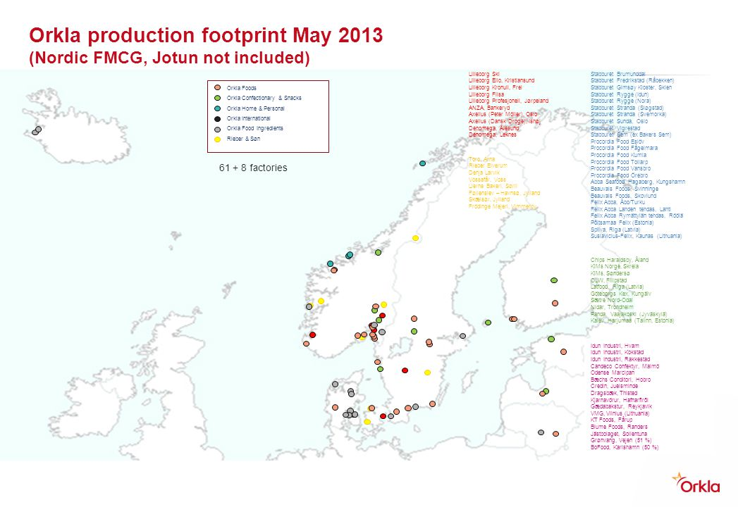 Orkla production footprint May 2013 (Nordic FMCG, Jotun not included)
