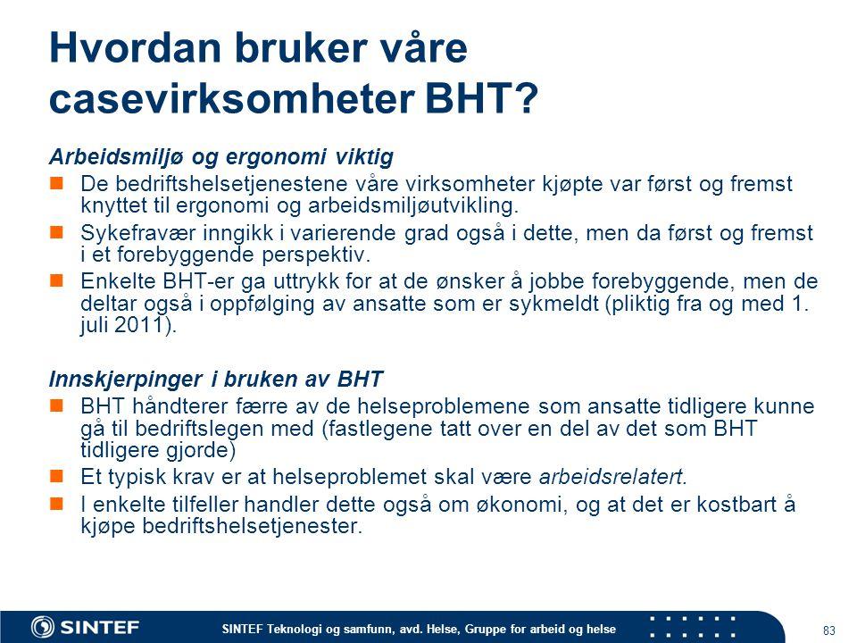 Hvordan bruker våre casevirksomheter BHT