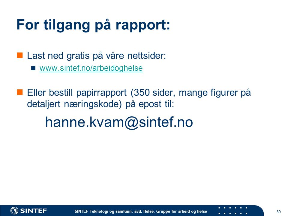 For tilgang på rapport: