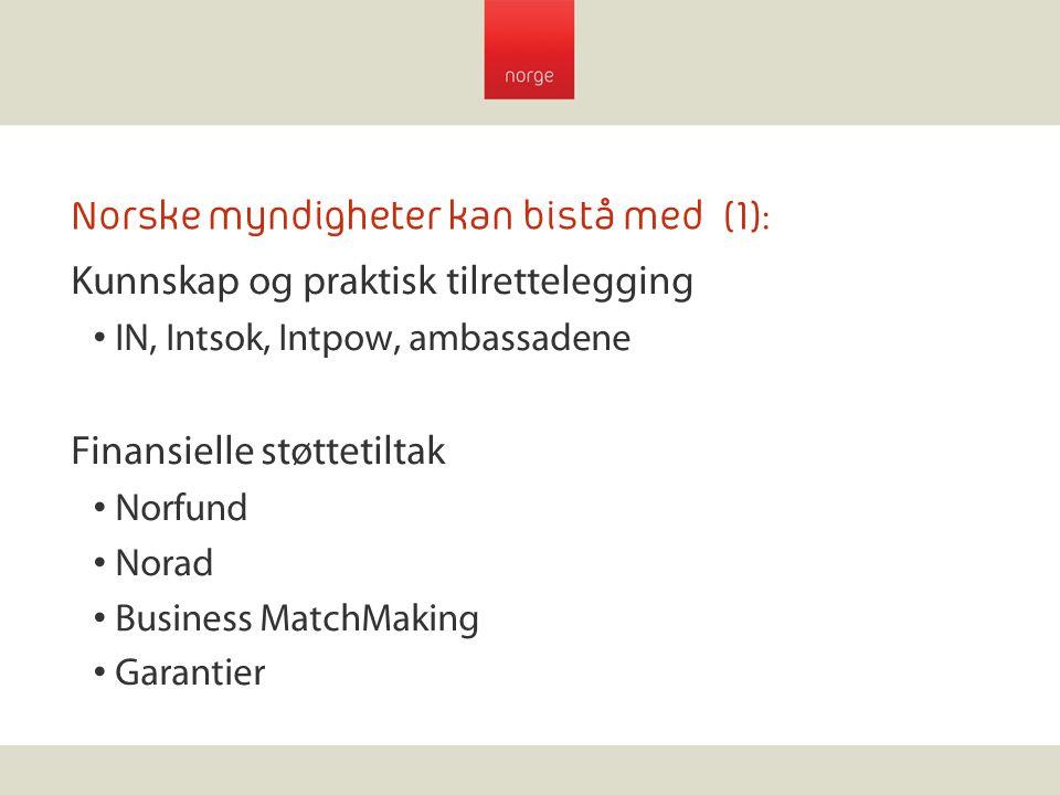 Norske myndigheter kan bistå med (1):