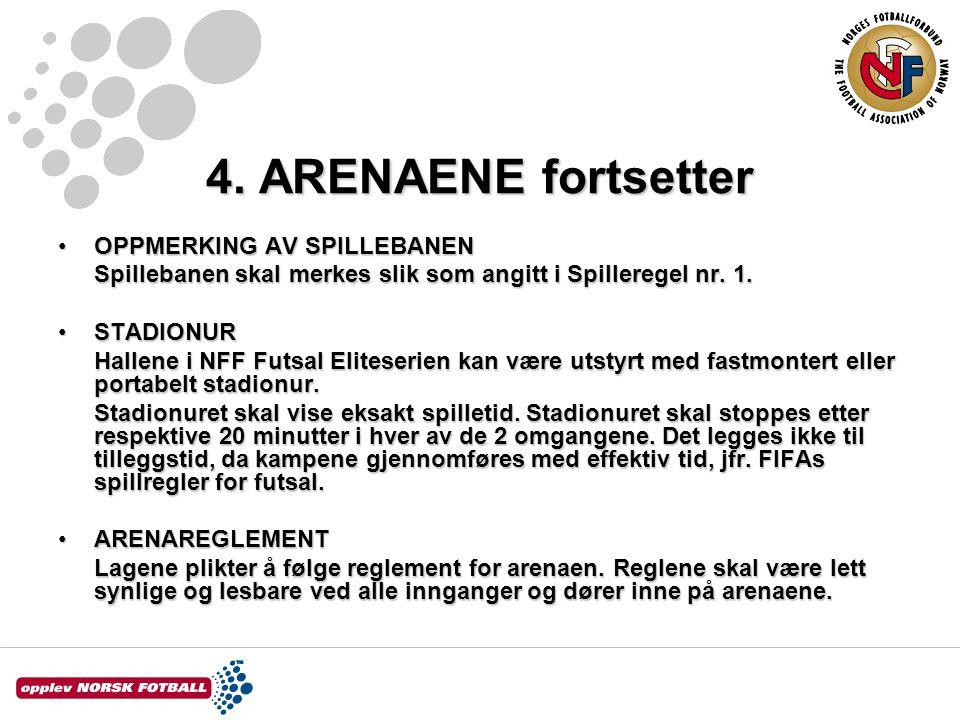 4. ARENAENE fortsetter OPPMERKING AV SPILLEBANEN