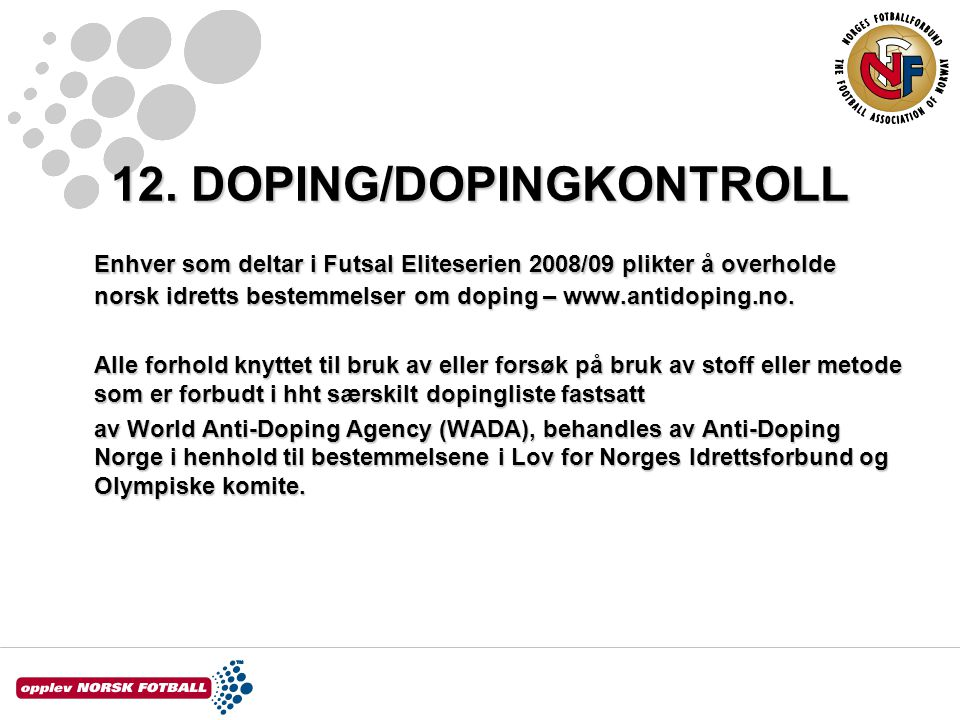 12. DOPING/DOPINGKONTROLL
