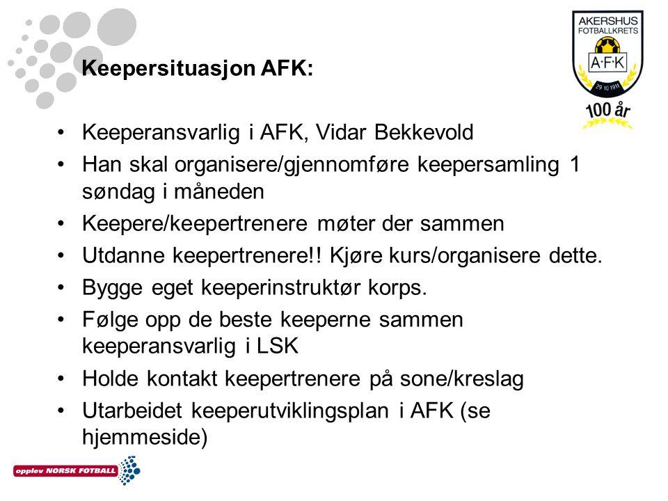 Keepersituasjon AFK: Keeperansvarlig i AFK, Vidar Bekkevold. Han skal organisere/gjennomføre keepersamling 1 søndag i måneden.