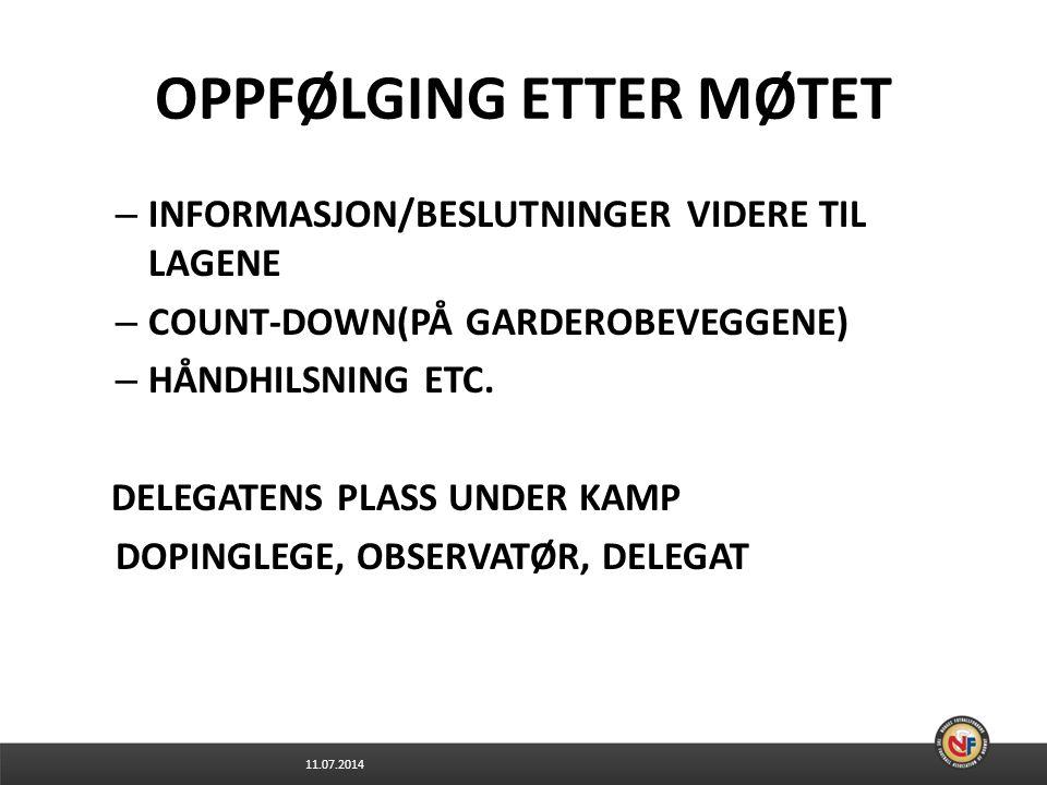 OPPFØLGING ETTER MØTET