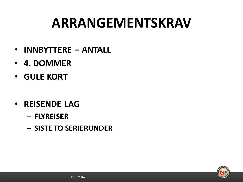 ARRANGEMENTSKRAV INNBYTTERE – ANTALL 4. DOMMER GULE KORT REISENDE LAG