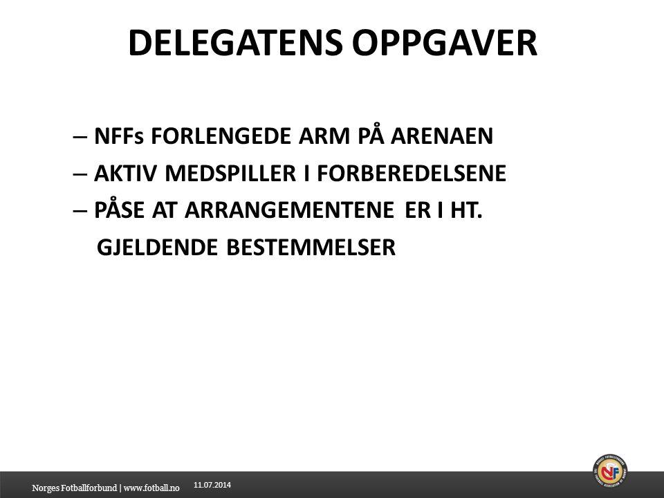 DELEGATENS OPPGAVER NFFs FORLENGEDE ARM PÅ ARENAEN