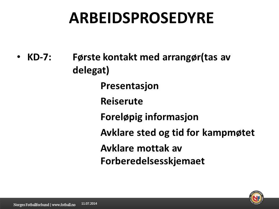 ARBEIDSPROSEDYRE KD-7: Første kontakt med arrangør(tas av delegat)