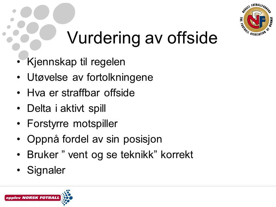Vurdering av offside Kjennskap til regelen Utøvelse av fortolkningene