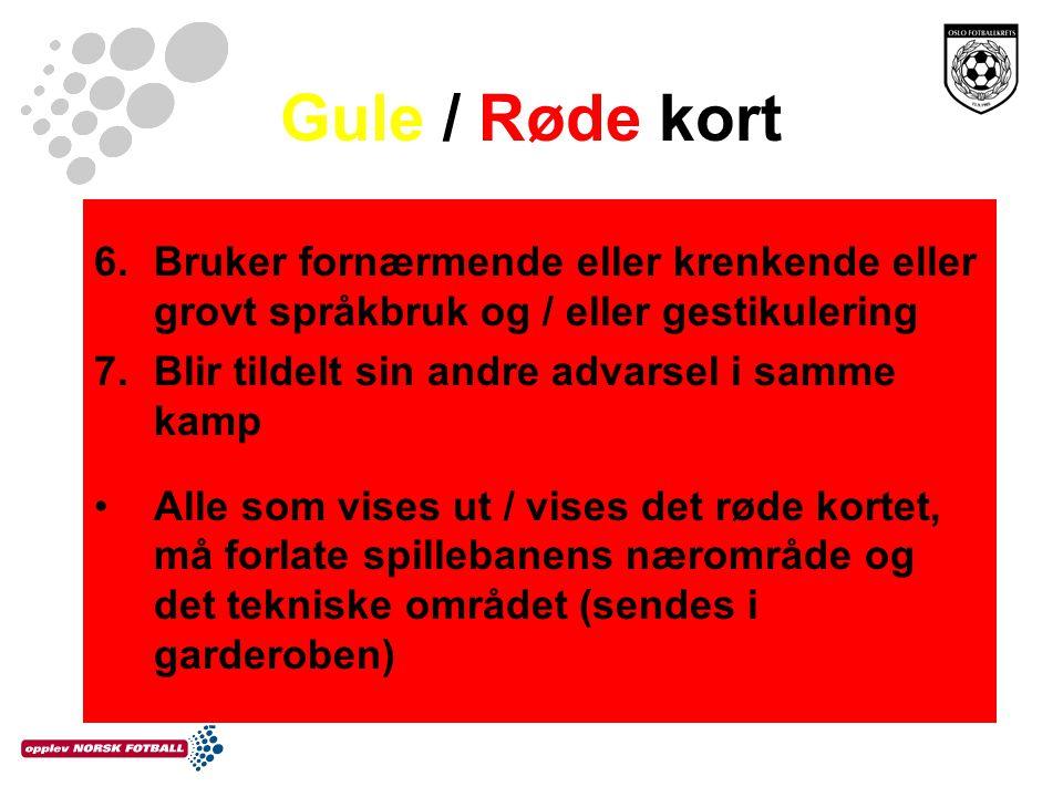 Gule / Røde kort Bruker fornærmende eller krenkende eller grovt språkbruk og / eller gestikulering.
