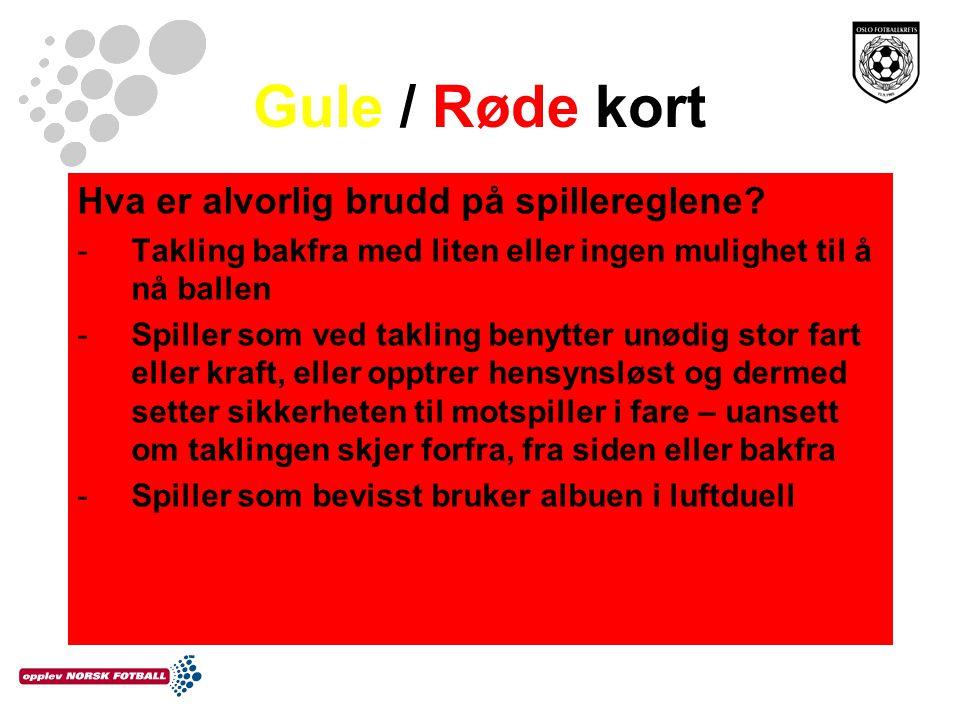 Gule / Røde kort Hva er alvorlig brudd på spillereglene