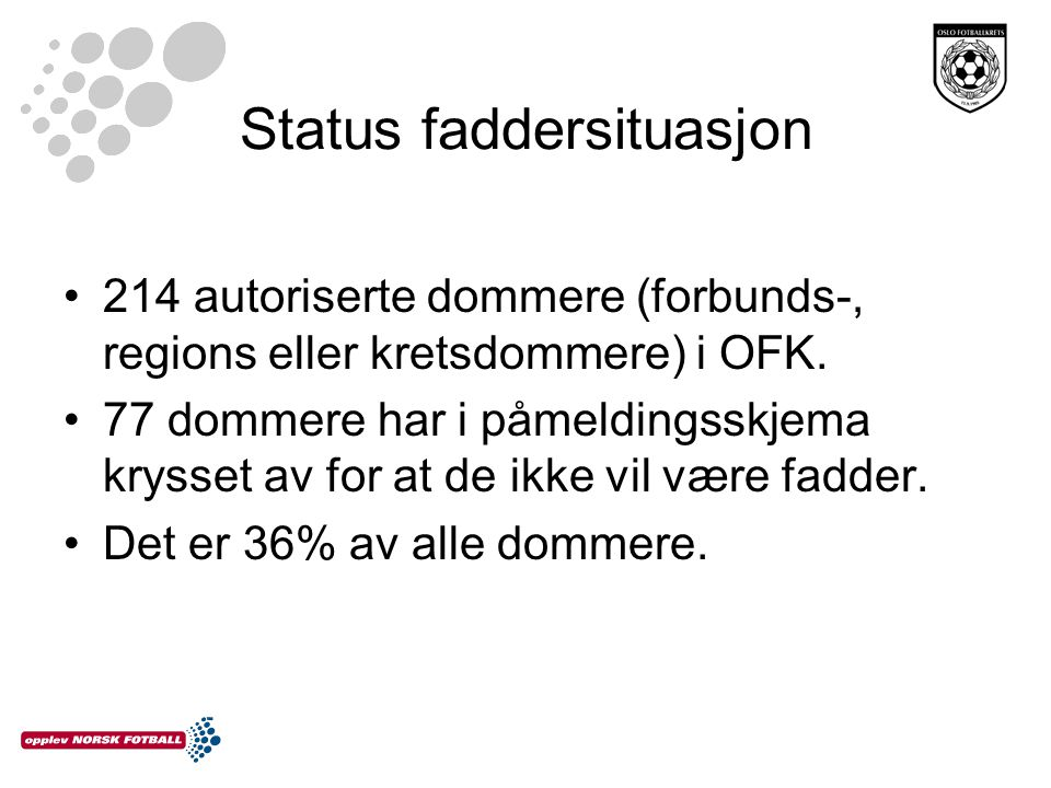 Status faddersituasjon