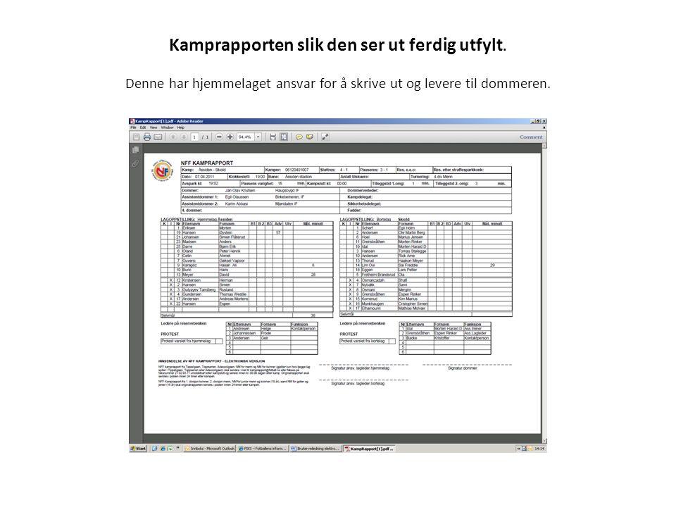 Kamprapporten slik den ser ut ferdig utfylt