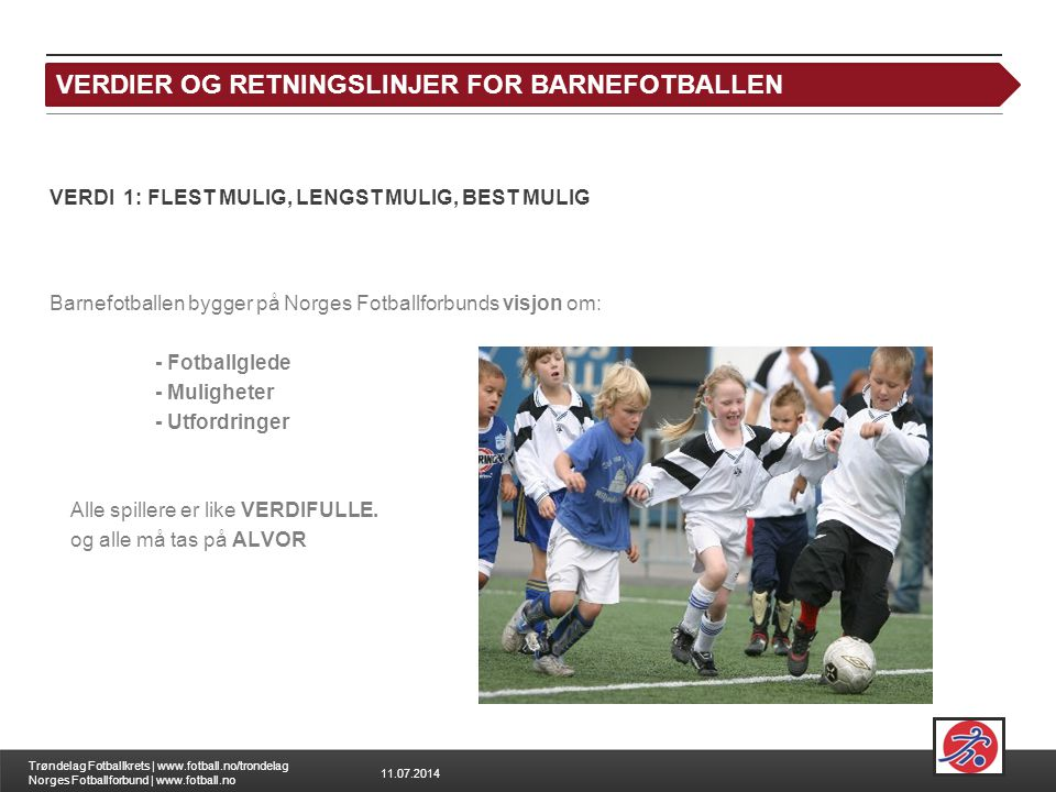 FOTBALL FOR ALLE VERDIER OG RETNINGSLINJER FOR BARNEFOTBALLEN