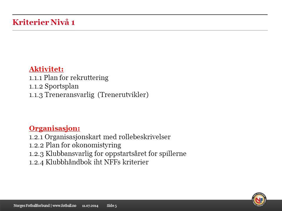 Kriterier Nivå 1 Aktivitet: 1.1.1 Plan for rekruttering