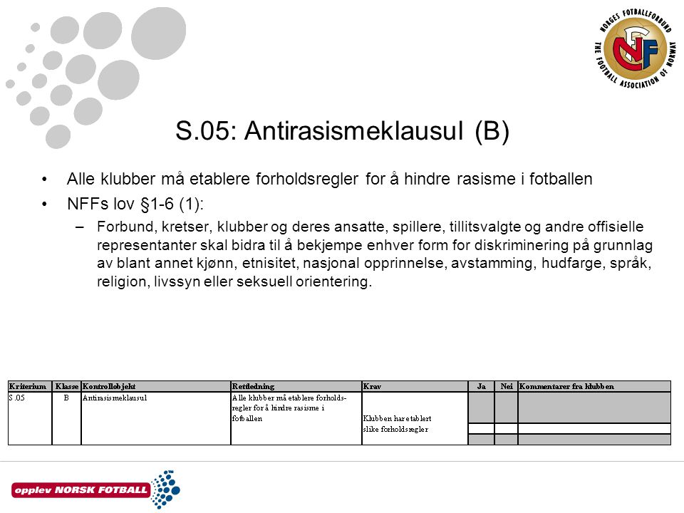 S.05: Antirasismeklausul (B)