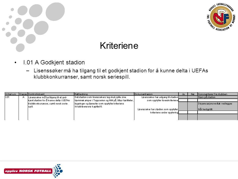 Kriteriene I.01 A Godkjent stadion