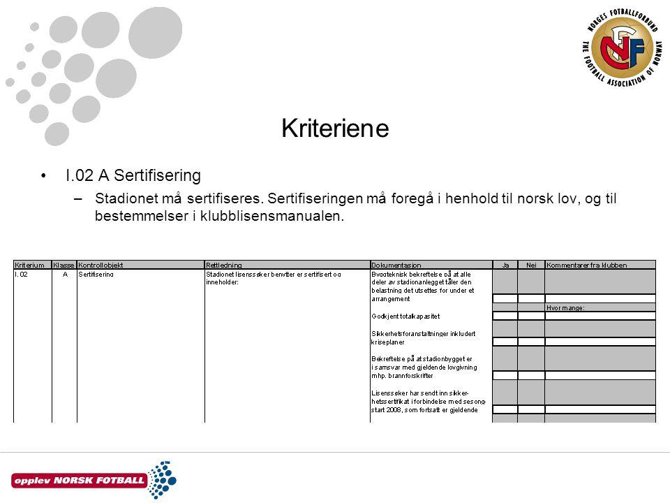 Kriteriene I.02 A Sertifisering