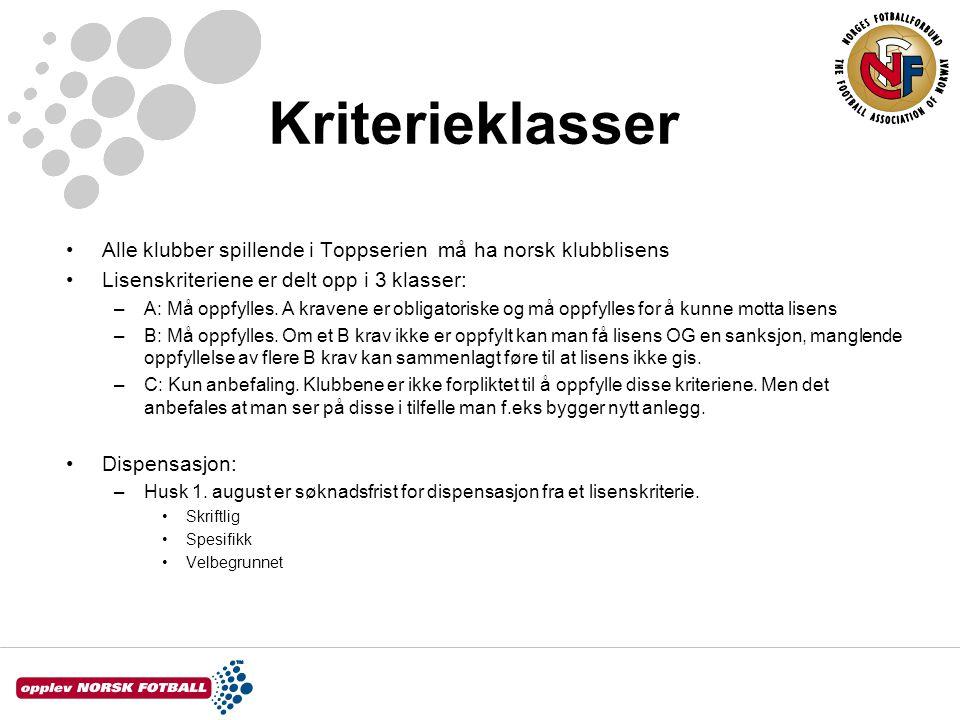 Kriterieklasser Alle klubber spillende i Toppserien må ha norsk klubblisens. Lisenskriteriene er delt opp i 3 klasser:
