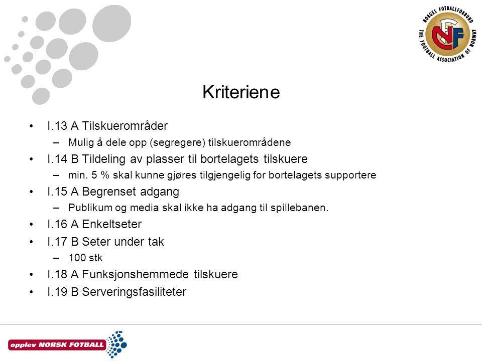 Kriteriene I.13 A Tilskuerområder