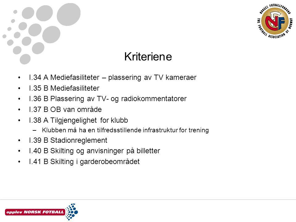 Kriteriene I.34 A Mediefasiliteter – plassering av TV kameraer